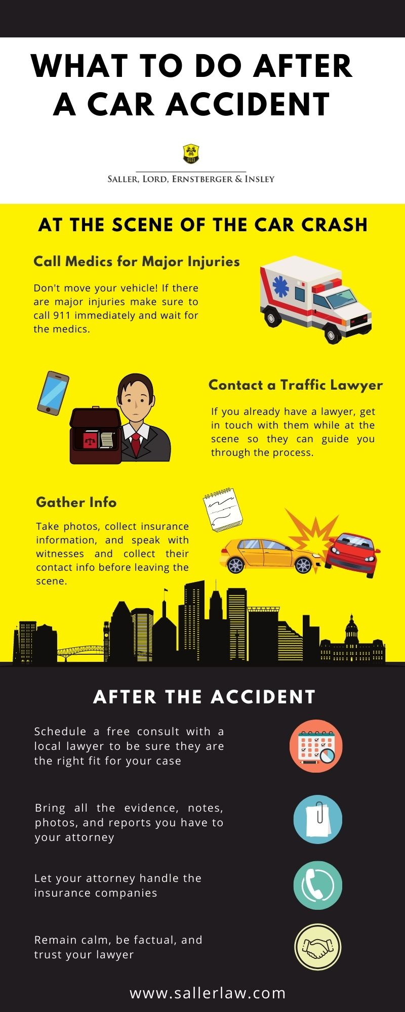 what to do after a car accident infographic from saller law in baltimore